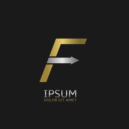 letter f: Golden Letter F logo template with silver arrow