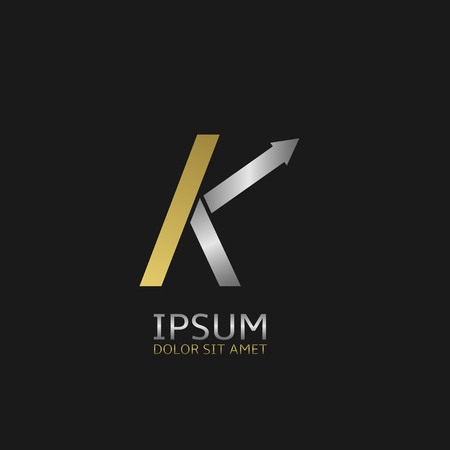 gold letter: Golden Letter K logo template with silver arrow