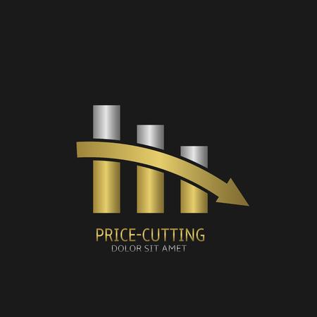 sanction: Price-cutting symbol, shopping finance and economics concept Illustration