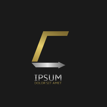 business symbol: Golden Letter C logo template with silver arrow