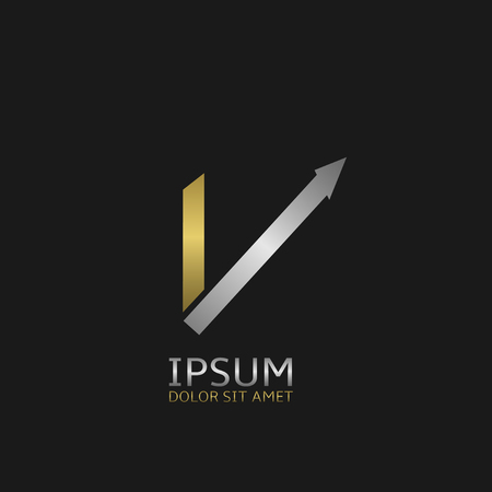 Golden Letter V logo template with silver arrow