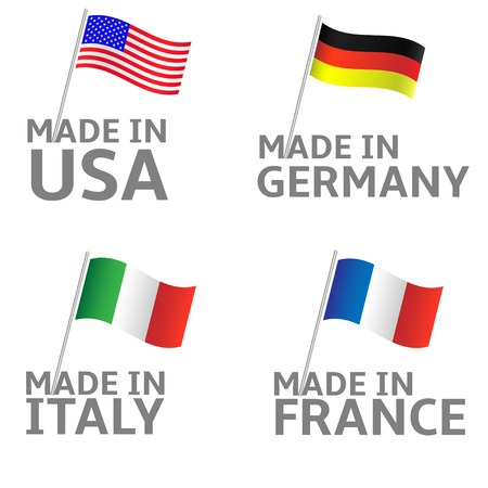 made in germany: Made in Italy Germany USA France labels. Flag set