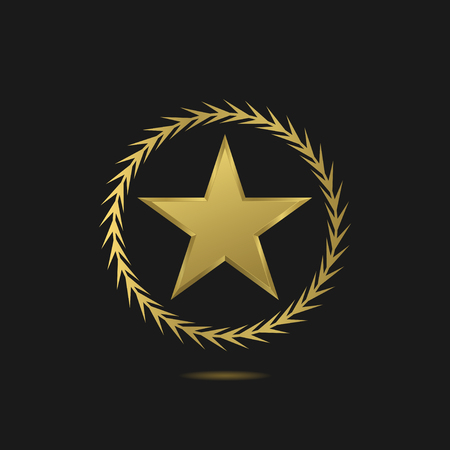 golden light: Golden star with laurel wreath, award symbol. Vector illustration Illustration