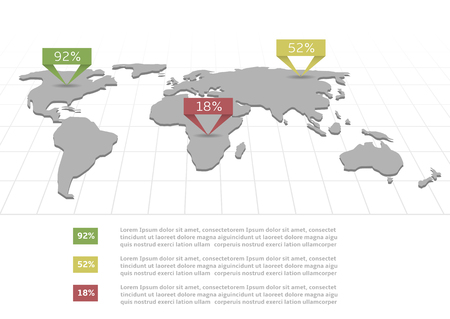 mainland: Infographic world map with information statistics paper pointers