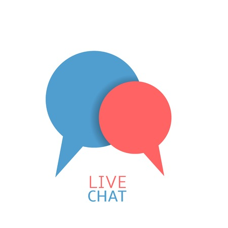 dialog bubble: Live Chat logo. Red and blue dialog bubble symbols