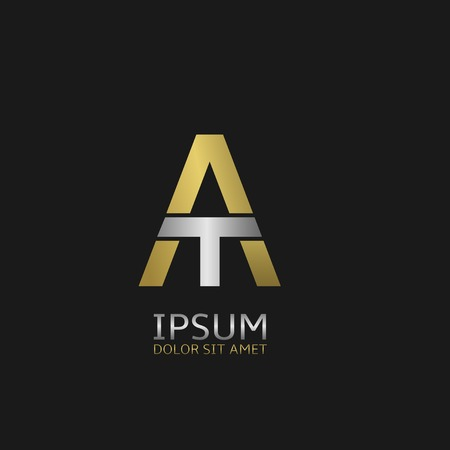 business symbol: Golden A and silver T letters monogram logo