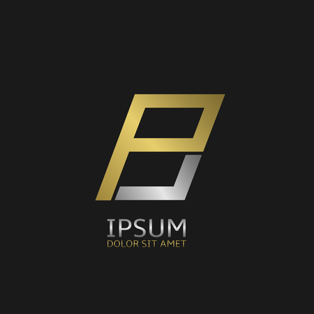 business letter: Golden P and silver B letters monogram logo