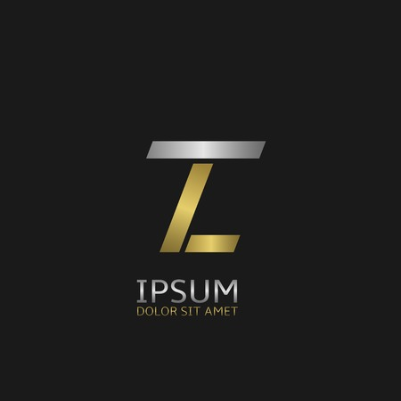Golden L and silver T letters monogram logo
