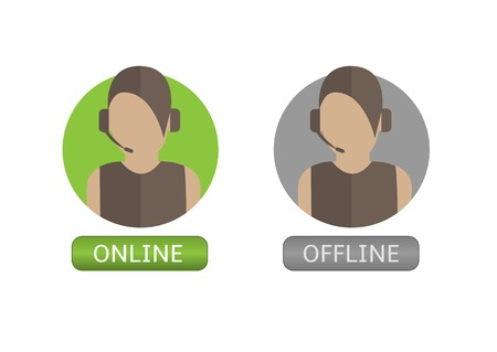 secretary on phone: Woman Operator icon set. Online and offline buttons
