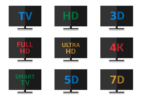 formats: TV icon set. 3D Full HD Ultra HD 4K Smart TV 5D 7D formats