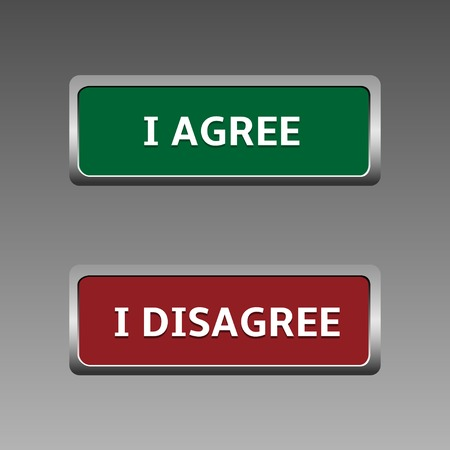 disagree: Green Agree and red disagree buttons with metal silver frame Illustration