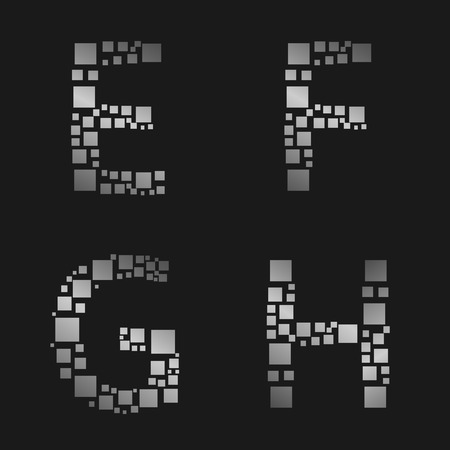 h: Silver square metal alphabet. E F G H letter set