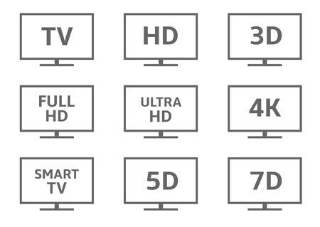 contrast resolution: TV icon set. 3D Full HD Ultra HD 4K Smart TV 5D 7D formats