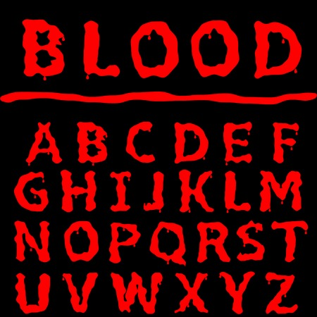 horror: Red Blood text. Halloween horror letters, vector illustration
