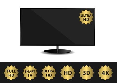 Black TV and golden label set. HD 3D 4K Full HD Smart TV Ultra HD Illustration