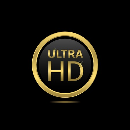 contrast resolution: Ultra hd golden label. Technology innovation concept