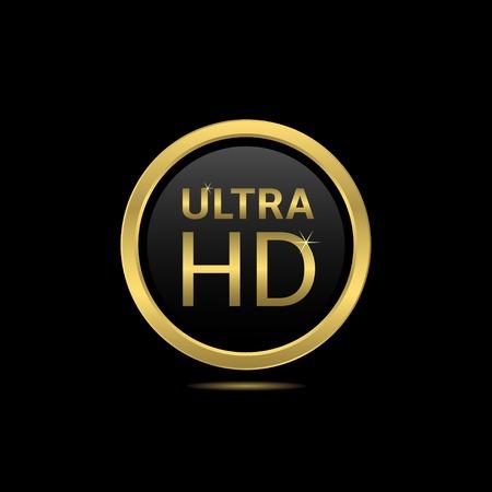 contrast resolution: Ultra hd golden label. Technology innovation concept
