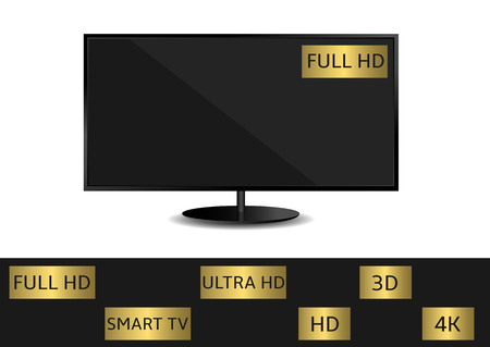 contrast resolution: Black TV and golden label set. HD 3D 4K Full HD Smart TV Ultra HD Illustration