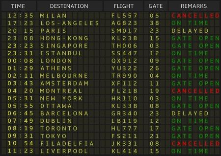 Airport departure board. Airline schedule, vector illustration Illustration