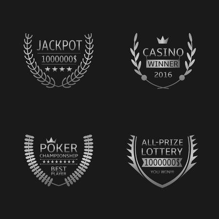 poker: Gambling games award symbols. Silver laurel wreath, casino jackpot lottery poker Illustration
