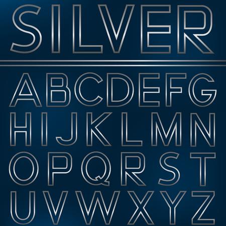 metal letters: English alphabet. Silver metal letters, vector illustration