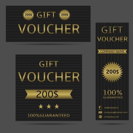 free border: Voucher card, money prize. Black banners with golden text