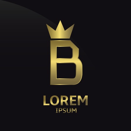 Golden letter B logo with crown. Luxury royal business concept