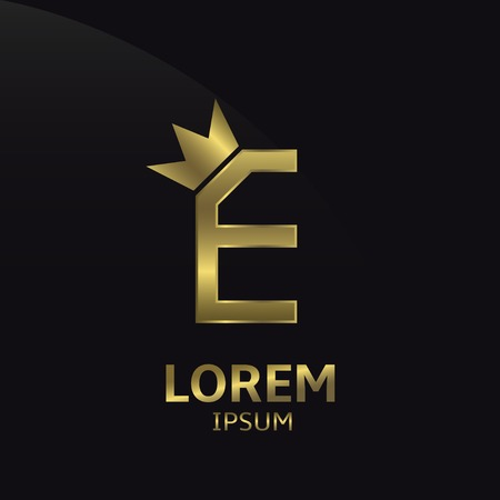 Golden letter E logo with crown. Luxury royal business concept