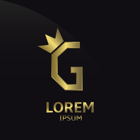 Golden letter G logo with crown. Luxury royal business concept