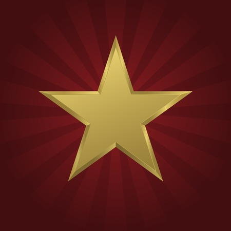 honour: Golden star on the red striped background. Honor, success, award symbol. Vector illustration Illustration