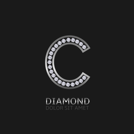 wealth: Silver metal letter C logo with diamonds. Luxury, royal, wealth, glamour symbol. Vector illustration