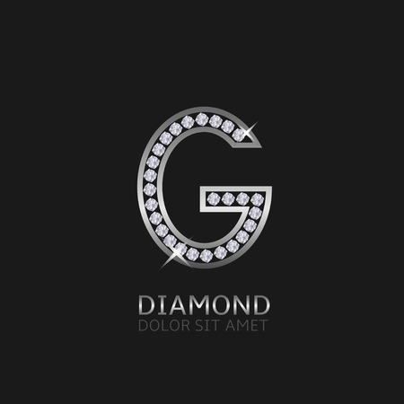 wealth: Silver metal letter G logo with diamonds. Luxury, royal, wealth, glamour symbol. Vector illustration Illustration
