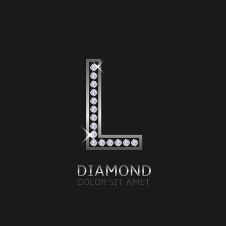 wealth: Silver metal letter L logo with diamonds. Luxury, royal, wealth, glamour symbol. Vector illustration