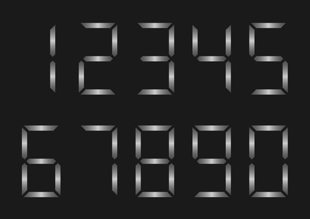 4 3 display: Silver metal electronic numbers for clock display. Vector illustration