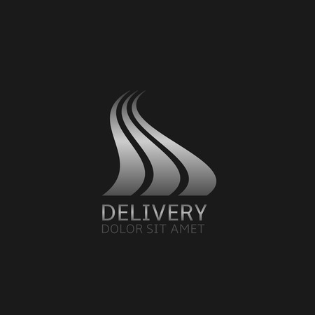 Delivery company logo. Silver road symbol, Vector illustration