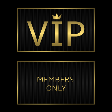 vip beautiful: Black VIP card with golden text. Luxury, Royal, Premium concept. Vector illustration