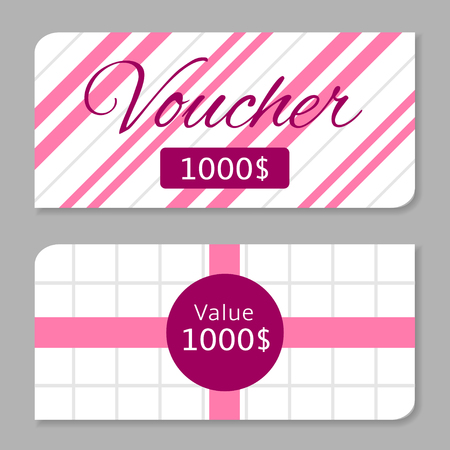 pink stripes: Voucher card, one thousand dollars prize. White banners with pink stripes