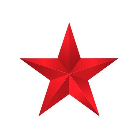 pentagonal: Red star, victory award symbol, pentagonal sign. Vector illustration