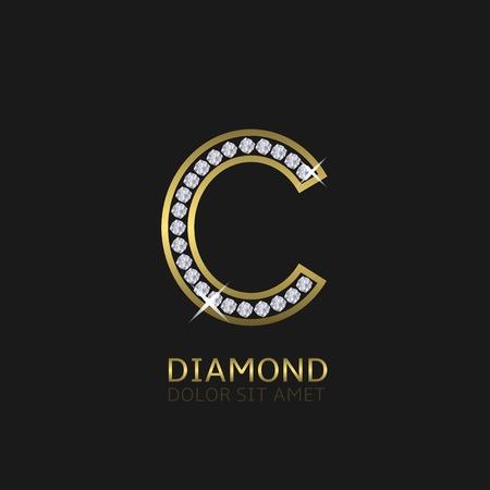 Golden metal letter C logo with diamonds. Luxury, royal, wealth, glamour symbol. Vector illustration  イラスト・ベクター素材