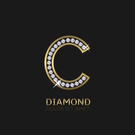 Golden metal letter C logo with diamonds. Luxury, royal, wealth, glamour symbol. Vector illustration Illustration
