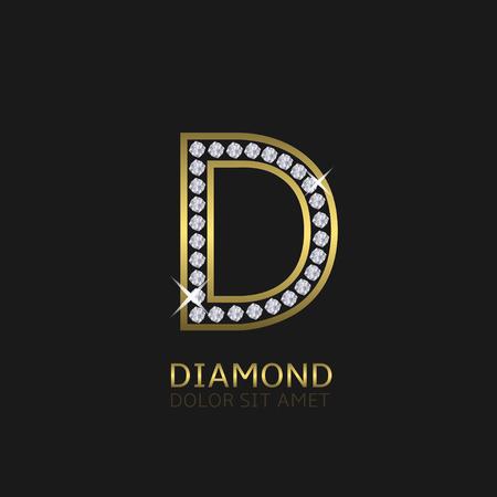 Or lettre métallique logo D avec des diamants. Luxe, royal, richesse, symbole de glamour. Vector illustration Banque d'images - 49364996