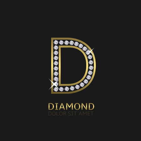 Golden metal letter D logo with diamonds. Luxury, royal, wealth, glamour symbol. Vector illustration