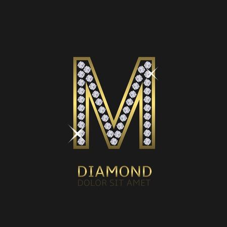 prosperidad: carta de metal de oro logotipo de M con diamantes. De lujo, real, riqueza, símbolo de glamour. ilustración vectorial