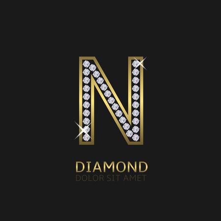 lettre alphabet: lettre en métal doré N logo avec des diamants. Luxe, royal, richesse, symbole de glamour. Vector illustration