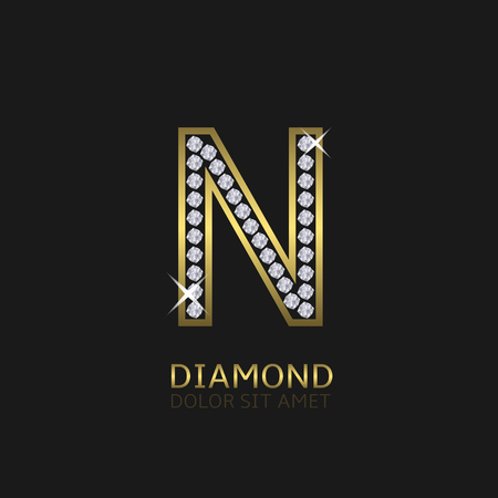 Golden metal letter N logo with diamonds. Luxury, royal, wealth, glamour symbol. Vector illustration