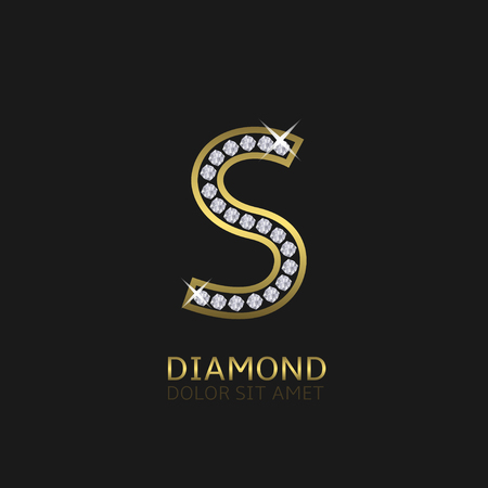 a glamour: Golden metal letter S logo with diamonds. Luxury, royal, wealth, glamour symbol. Vector illustration