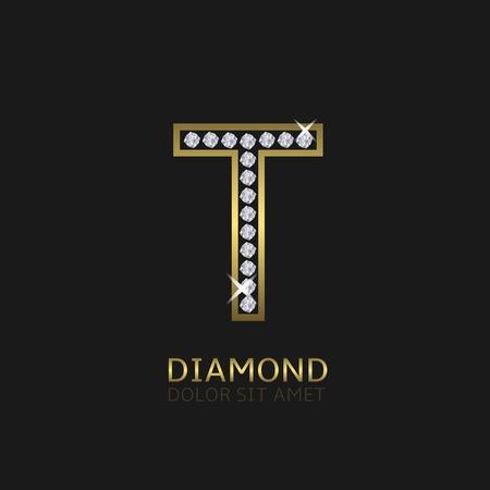 diamond letters: Golden metal letter T logo with diamonds. Luxury, royal, wealth, glamour symbol. Vector illustration