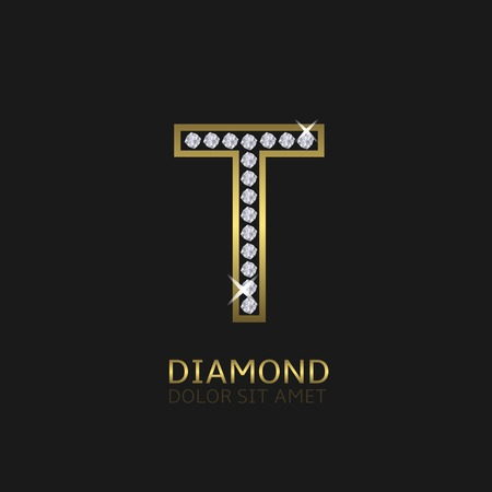 Golden metal letter T logo with diamonds. Luxury, royal, wealth, glamour symbol. Vector illustration