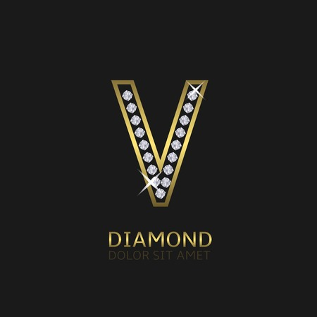 wealth: Golden metal letter V logo with diamonds. Luxury, royal, wealth, glamour symbol. Vector illustration