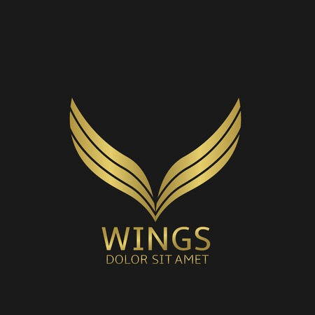 tattoo wings: Golden Wings . Bird symbol or air company , Vector illustration
